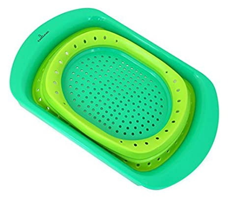 Culina Collapsible Over The Sink Colander, Green, 16 Inch X 11 Inch