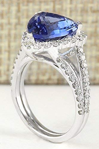 - UltraSunday Fashion Jewelry Women Silver Trilliant Cut Sapphire Ring Wedding Gift Size 6-10 (9)