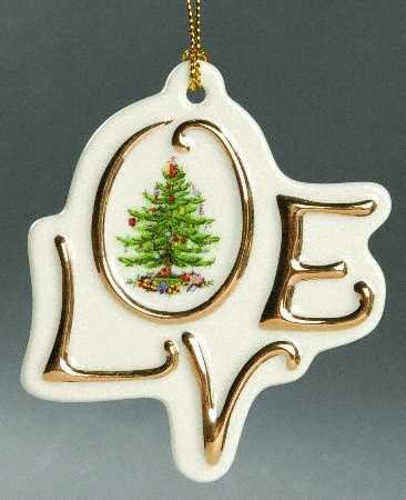 Spode Christmas Tree Ornament - Love (Nikko Christmas Tree)
