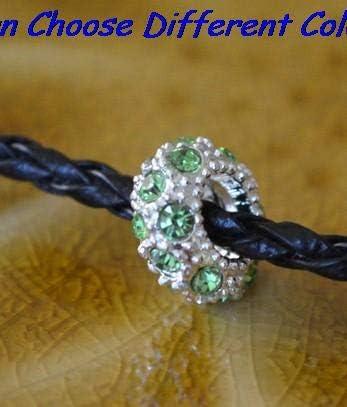 Color: Orange Calvas Mixed Multicolor 10 x 5mm Spacer Charm Wheel Beads Fit European Bracelet Rhinestone Loose Beads DIY Rhinestone Crystal
