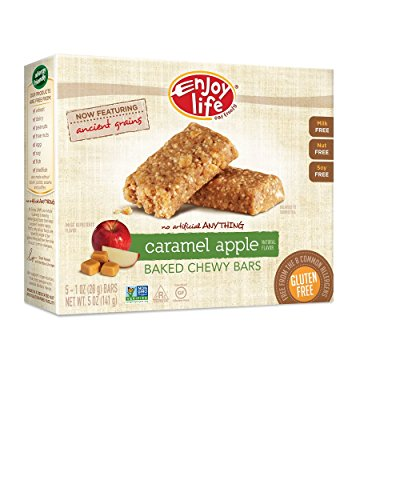 Enjoy Life Baked Chewy Bars, Gluten-Free, Non-GMO, Dairy-Free, Nut-Free + Soy-Free, Caramel Apple, 5 Count Bar/5 Ounce Box (Pack of 6) Rich Chewy Caramel Snack Bar