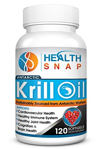 HealthSnap Antarctic Krill Oil with Omega 3 Fatty Acids, EPA, DHA, Astaxanthin, and Phospholipids - High Purity, Sustainably Sourced, Hexane Free, 3rd Party Tested, No Fish Smell - Free eBook Included
