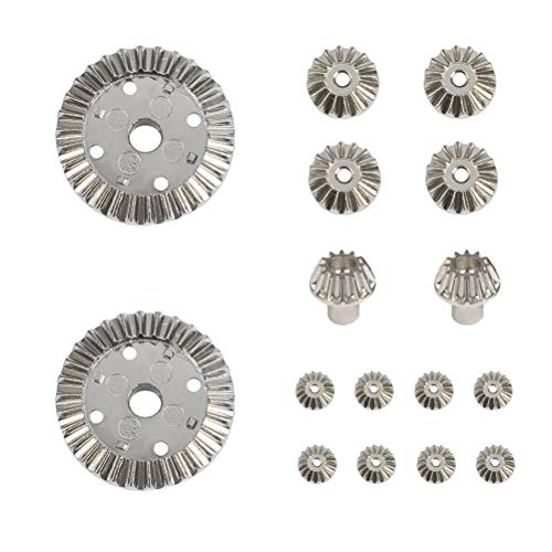 YANSHON 2 Sets Upgrade Parts Motor Driving Gear 12T 24T 30T Metal Differential Gear Set for WLtoys 12428 12423 RC Car (16pcs, 8pcs/Set) (Metal Differential Gear)