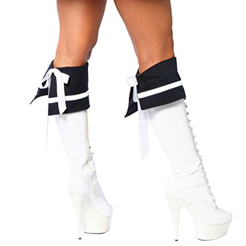 Sexy Sailor Girl Boot Cuffs Halloween Accessory (Sexy Striped Sailor Costume)