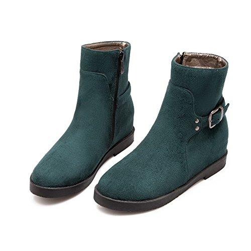 AllhqFashion Womens Imitated Suede Low-Top Solid Zipper Kitten-Heels Boots Green zgZXtmSQE