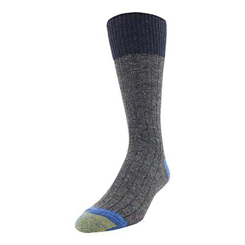 Gold Toe Men's Patterned Fashion Dress Crew Socks, 1 Pair, color block tweed gray Shoe Size: 6-12.5