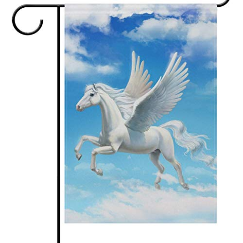 - Mesllings Magic Unicorn Welcome Garden Flags 12 x 18 Double Sided, Good Luck Funny Freedom Pegasus Garden Yard Outdoor House Flag Banner for Party Home Decorations