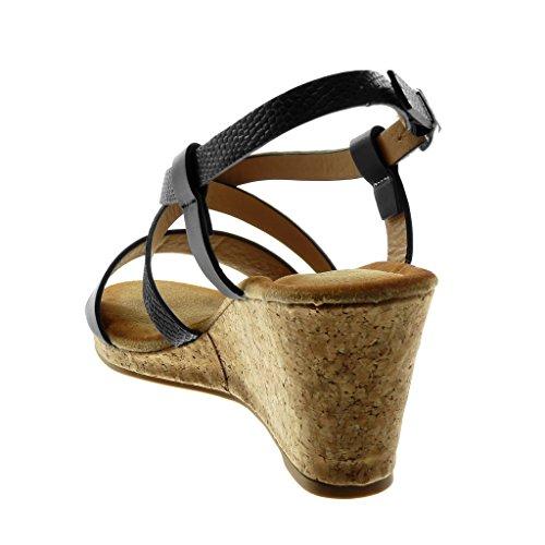 Plataforma Correa Mujer Piel Multi Moda 7 5 De Mules Zapatillas Corcho Tobillo correa Sandalias Cm Angkorly Serpiente Negro wOIxg0q