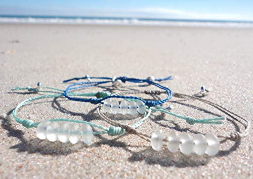 Sea Glass Bead Bracelet-Made from Recycled Glass Beads - Adjustable Waterproof Wax Coated Bangle-Aqua Thread-Handcrafted Bracelet with White Beads