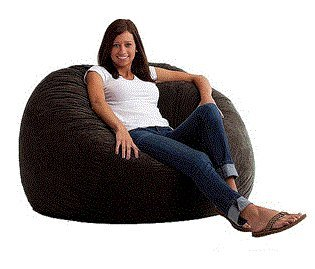 Large 4' Fuf Comfort Suede Bean Bag Chair Black Onyx - Soft Durable Comfortable Seating for Everyday Use by Fuf