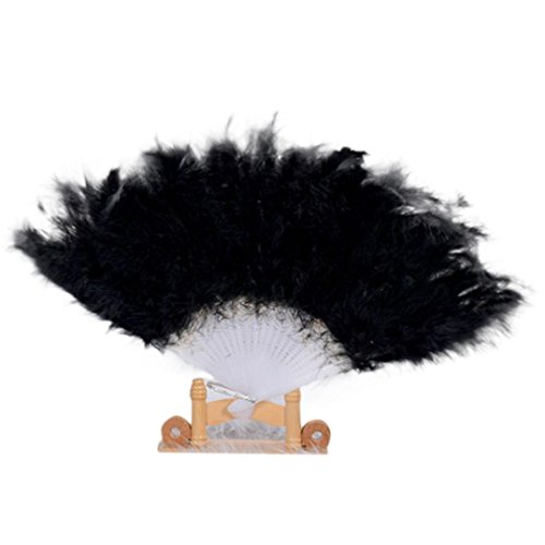 large black feather hand fan - 3