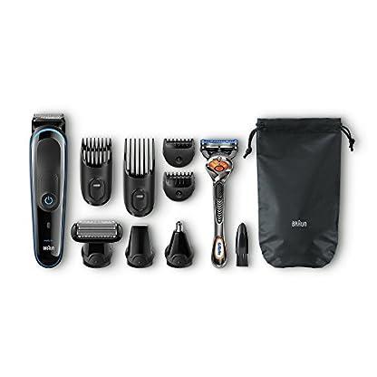 Braun 9-in-1 Multi-Grooming-Kit MGK3085, Barttrimmer und Haarschneider, Körperhaartrimmer, Ohren- und Nasenhaartrimmer, Präzisionstrimmer, lebenslang scharfe Klingen, schwarz/blau 5