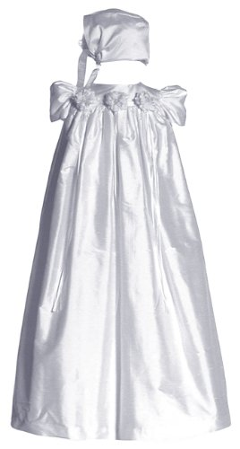 Short Sleeve Silk Dupioni Christening Gown #C34 by Sara Lene