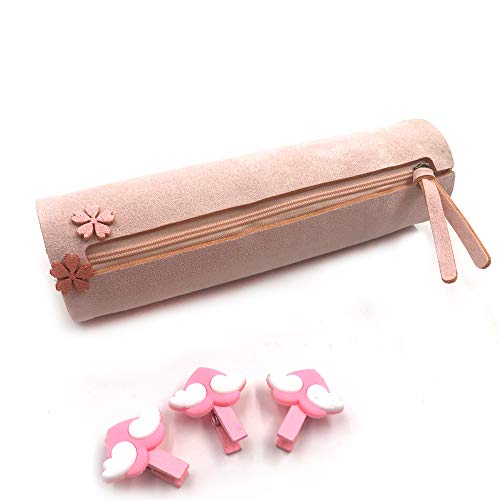 Longjet Cute Pencil Case for Girls Pink Round Pencil Holder