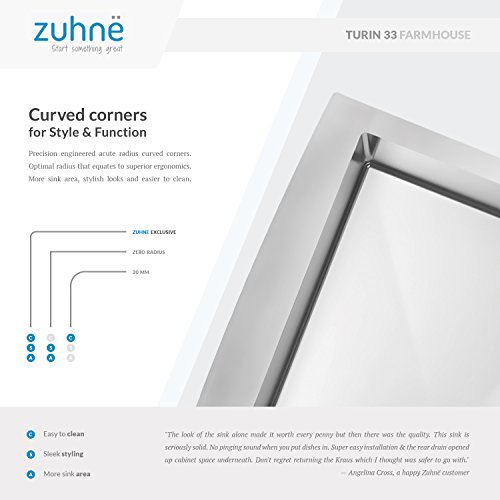 Zuhne 33 Inch Farmhouse Apron 60/40 Deep Double Bowl 16 Gauge Stainless Steel Luxury Kitchen Sink by Zuhne (Image #4)
