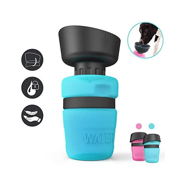 lesotc Pet Water Bottle for Dogs, Dog Water Bottle Foldable, Dog Travel Water Bottle, Dog Water Dispenser, Lightweight & Convenient for Travel BPA Free 18 OZ. 1