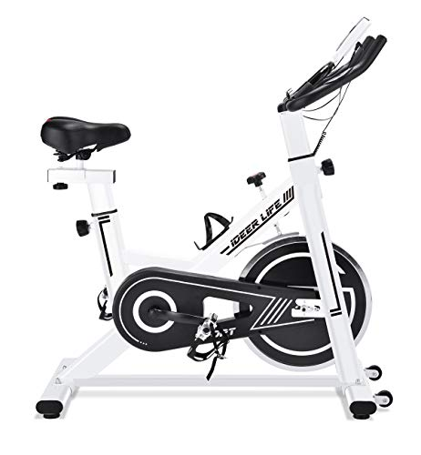 IDEER LIFE Exercise Bike Stationary Indoor Cycling Bike for Home Sport Workout,Height Adjustable Sport Exercise Bike for Home Indoor Cardio,w/Pulse Sensor&LCD Monitor,Max Capacity:330lb (Wihte09031)