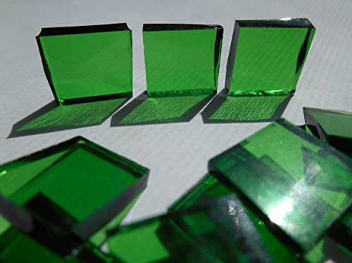 FortySevenGems 100 Pieces Stained Glass Mosaic Tiles 1/2-Inch Green Cathedral Glass (Green Stained Glass Mosaic Tile)