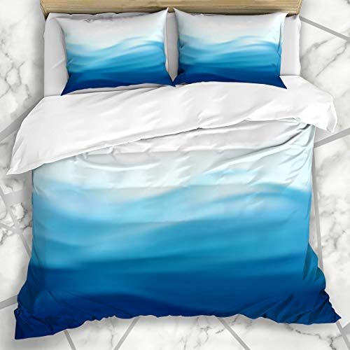 Ahawoso Duvet Cover Sets Queen/Full 90x90 Flowing Wave Blue Satin Drapery Mesh Water Nature Pattern Ocean Abstract Stream Sky Design Microfiber Bedding with 2 Pillow Shams