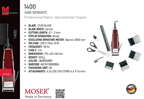 Moser 1400-0378, Professional Corded Hair Clipper, Burgandy Set (Pack of 1)