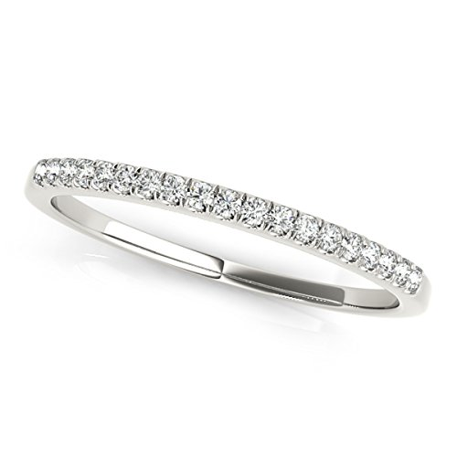 MauliJewels 0.10 Carat Round Diamond Wedding Band in 10K Solid White Gold