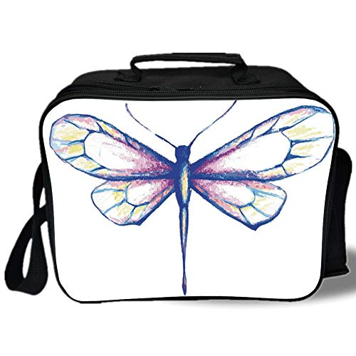 (Dragonfly 3D Print Insulated Lunch Bag,Single Dragonfly Featured in Soft Color Fast Long Bodied Predatory Insect Theme,for Work/School/Picnic,Violet Blue)