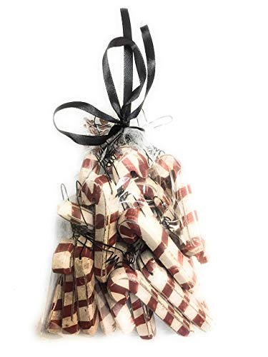 Primitive Style Wooden Candy Cane Ornament Set of 24 -