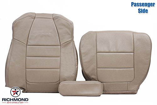 2001 - 2003 Ford F-350 F350 Lariat Quad-Cab Extended-Cab Super-Cab: Passenger Side Complete Bottom, Lean Back & Armrest Replacement Leather Seat Covers, Tan ()