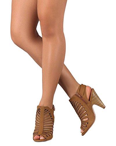 Délicieux Bk59 Femmes Similicuir Peep Toe Strappy En Cage Chucky Talon Bottine Sandale Bronzage