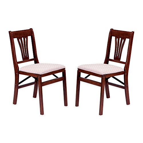 Traditional Styling Decorative Urn-Shaped Back Folding Chair Cherry Finish, Set of 2 - Set Wood Finish Folding Chair