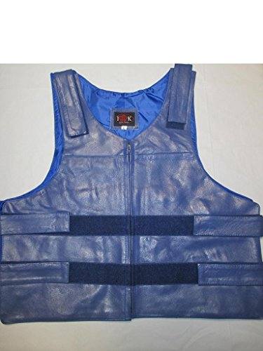 IK Leather LLC Mens Bullet Proof Style Leather Vest XX-Large - Leather Vest Bulletproof