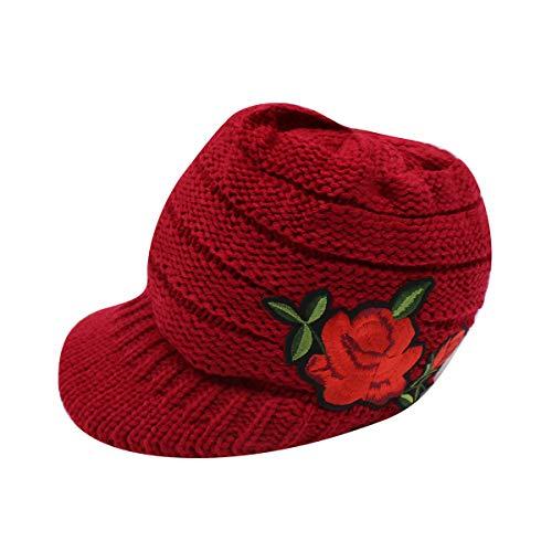 KINGSEVEN Women Winter Knit Hat Crochet Visor Brim Cap Warm Soft Newsboy Cabbie Cap With Rose Embroidery Pattern