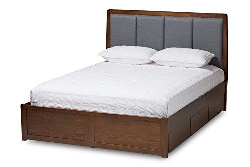 Baxton Studio 146-424-8197-AMZ Troyes Storage Platform Bed, Queen, Grey/Walnut Brown ()