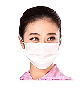 3 Layer Non-woven Fabric Disposable Surgical Dust Filter Ear Loop Mouth Cover Face Mask White Color Pack of 50