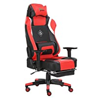 GreenForest Gaming Chair Ergonomic Computer Office Chair PU Leather Thick Padded Hihg Back Desk Chair with Headrest Footrest and Lumbar Pillow, Red