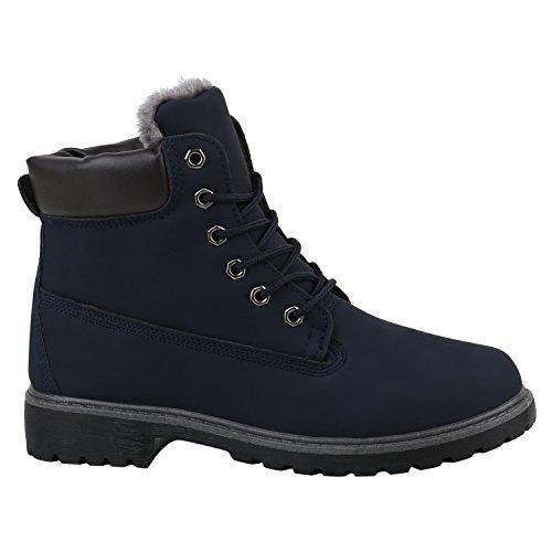 Stiefelparadies Damen Schuhe Stiefeletten Warm Gefütterte Worker Boots Outdoor Flandell Dunkelblau Grau