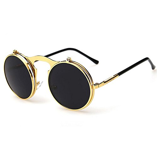 EA-STONE Small Retro Round Steampunk Circle Flip Up Metal Frame Lens Glasses / Sunglasses (Black, - Baseball Sunglasses Flip Up