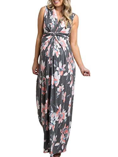 Ivay Women's Ruched Maternity Maxi Dress with Twist Knot