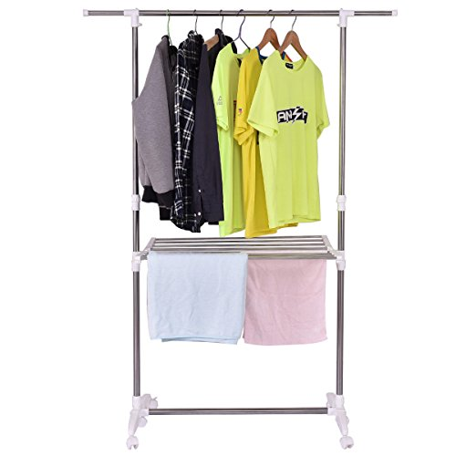 TANGKULA Folding Drying Rack Heavy Duty Extendable Adjustabl