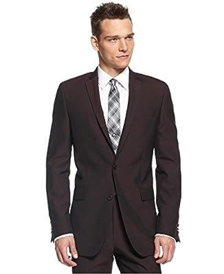 Calvin Klein Slim Fit Burgundy Solid Notch Lapel New Men's Suit Set