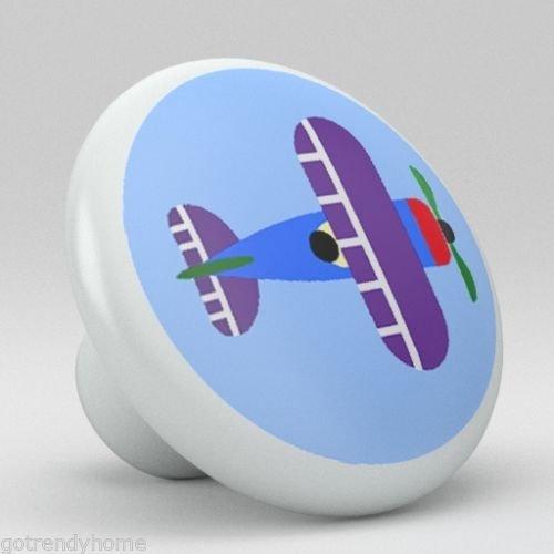 Plane Drawer Knob (Nursery Cute Blue Plane Ceramic Knobs Pulls Kitchen Drawer Cabinet Vanity 836)
