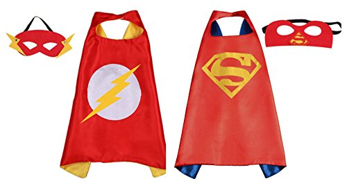 Athena Dress Up Flash & Red Superman 2 Capes, and 2 Masks Gift Box Included