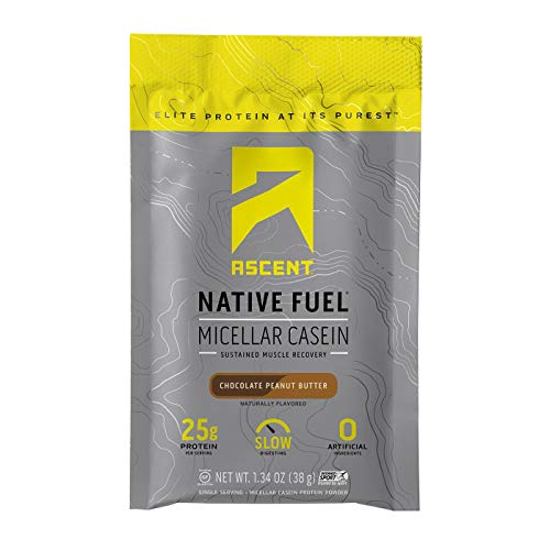 Ascent Native Fuel Micellar Casein Protein Powder - Chocolate Peanut Butter - 15 Single Serve Packets ()