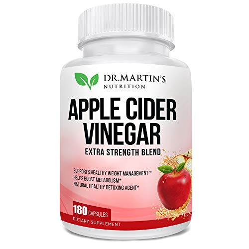 Pure 1950mg Apple Cider Vinegar 180 Capsules Supplement Extra Strength 1950mg. Healthy Weight Loss, Boosts Metabolism, Natural Detox, Pleasant Taste. Made in USA