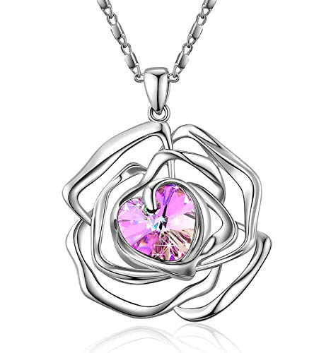 - Menton Ezil Rose Flower Pendant Necklace White Gold Plated with Mysterious Purple Stone Swarovski Crystal for Women Gifts
