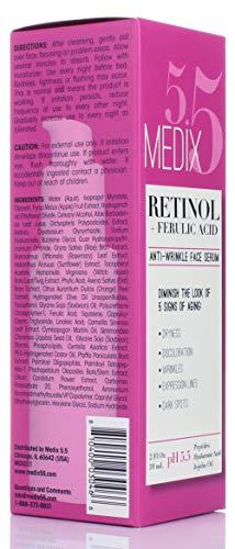 41TK6JlQ CL - Medix 5.5 Retinol Cream & Retinol Serum two-piece set. Anti-aging retinol set w/ferulic acid for wrinkles, fine lines, expression lines, dark spots. Contains 2oz serum & 15oz cream for face & body