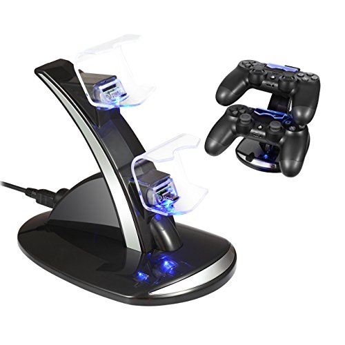 PS4 Controller Charger Dock Station - Raynic Dual USB Charging Stand Kit With LED Indicator for Sony PlayStation 4 PS4 Slim PS4 Pro Controller, Black