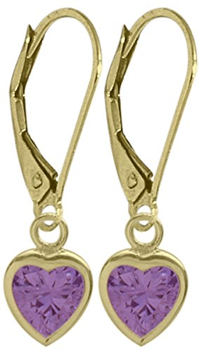 Girls February 1.40 Carat 6mm Genuine Amethyst 14K Yellow Gold Heart Leverback Earrings