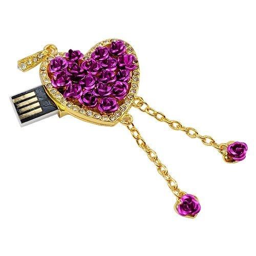 Microware 16 GB Purple Heart Shape Designer Pendrive