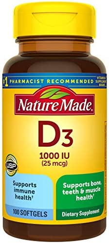 Vitamin D3, 100 Softgels, Vitamin D 1000 IU (25 mcg) Helps Support Immune Health, Strong Bones and Teeth, & Muscle Function, 125% of the Daily Value for Vitamin D in Only One Daily Softgel